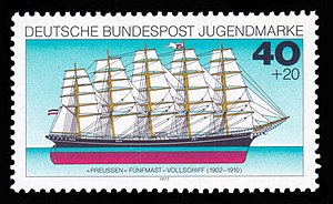 Preußen (ship) -  1977 German stamp with the Preußen on it