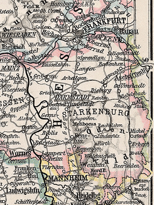 Starkenburg - Hessian province of Starkenburg, 1905 map