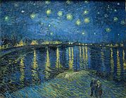 The top of the painting is a dark blue night sky with many bright stars shining brightly surrounded by white halos. Along the distant horizon are houses and buildings with lights that are shining so brightly that they are casting yellow reflections on the dark blue river below. The bottom half of the picture is the Rhone river with reflected lights showing throughout the river. In the foreground we can see a shallow wave.