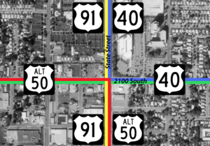 Utah State Route 201 - Image: State Street and 2100 South