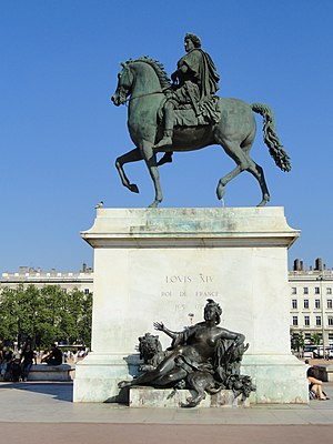 Place Bellecour - Equestrian statue of Louis XIV on the Place Bellecour