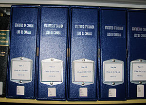 Statutes of Canada - Volumes of the Statutes of Canada at a law library