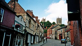 A view up 'Steep Hill' towards the historic quarter of Bailgate in Lincoln Steep Hill.jpg