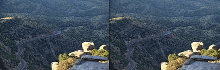 This is a stereograph of the Mt Lemmon Highway near Windy Point Vista. Once clicked on, position your eyes about 15 inches from your monitor, and relax your vision so that you are looking at infinity far behind your monitor. The two images will eventually meld into one three dimensional image. Stereograph -Mount Lemmon Highway.jpg