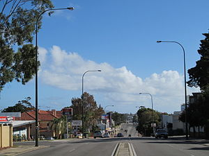 Stirling Highway - View west from Webster Street in Nedlands