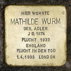 Photo of Mathilde Wurm brass plaque