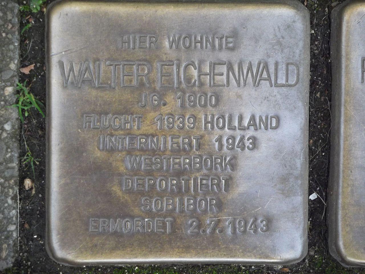 Stolperstein Düsseldorf 9 Benrath Hauptstraße 46 Walter Eichenwald.jpg