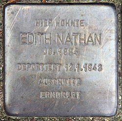 Photo of Edith Nathan brass plaque