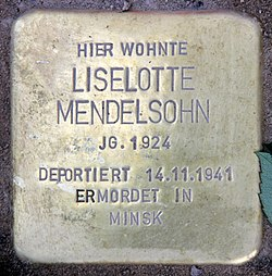 Photo of Liselotte Mendelsohn brass plaque