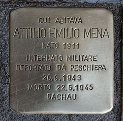 Photo of Attilio Emilio Mena brass plaque