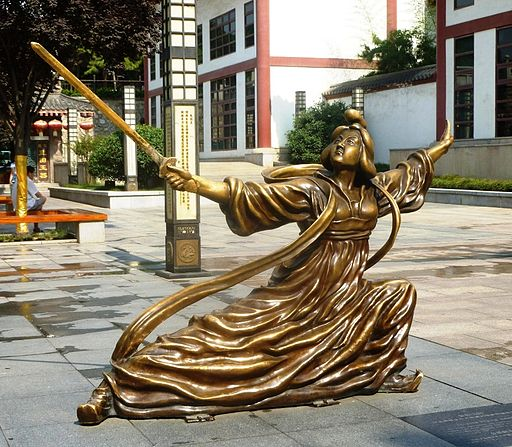 Street statue of Lady Congsun sword-dance master of the Tang Dynasty