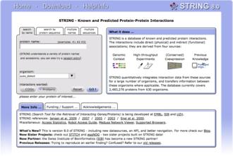 Biological database - Image: String home page