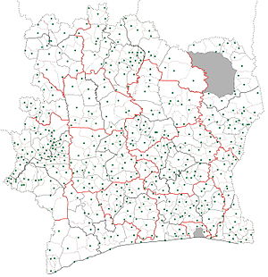 Subdivisions of Ivory Coast - Image: Sub prefectures map Côte d'Ivoire