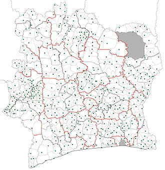 Sub-prefectures of Ivory Coast. The sub-prefecture boundaries are dotted lines. The green dots indicate the location of the settlement that is the seat of each sub-prefecture. The grey zones are areas of the country not governed by sub-prefectures. Sub-prefectures map Cote d'Ivoire.jpg