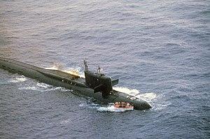 Yankee-class submarine - K-219 damaged