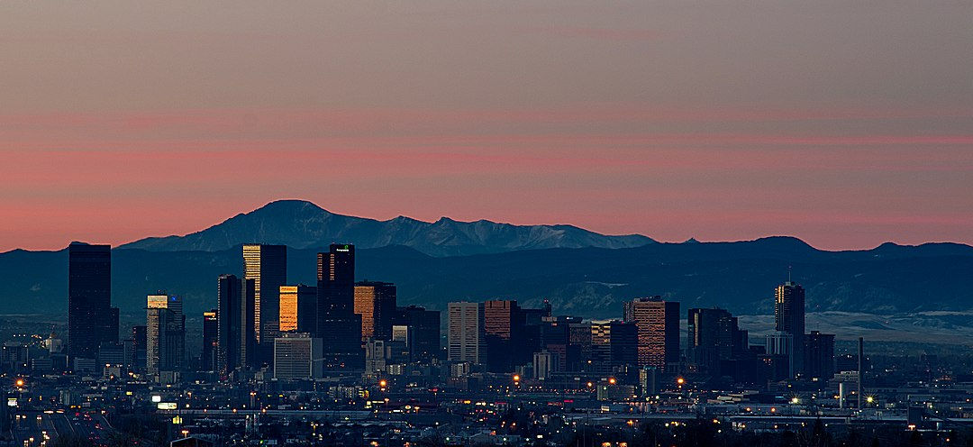 Dawn over downtown Denver and the Front Range to the south Sunrise Over Denver Skyline.jpg