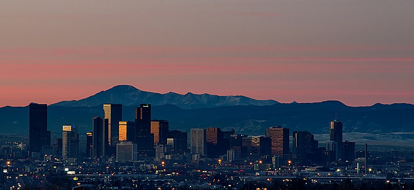 Dawn over downtown Denver, viewed from the north with Pikes Peak and the southern Front Range to the south. Sunrise Over Denver Skyline.jpg