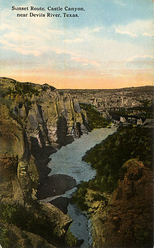Devils River (Texas) - Sunset Route, Castle Canyon, Texas (postcard, circa 1908)