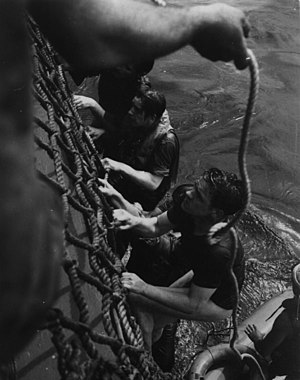 Survivors of the German submarine U-515 climb aboard USS Chatelain (DE-149) on 9 April 1944 (80-G-228417).jpg