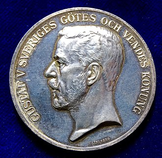 Gustaf V of Sweden - Gustaf V on an award silver medal for horse breeding. Artist: Johan Adolf Lindberg.