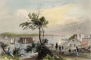 "George Virtue - W. H. Bartlett, ""THE NARROWS, (From Fort Hamilton),"" R. Wallis. London, Published for the Proprietors, by Geo. Virtue, 26, Ivy Lane, 1839."
