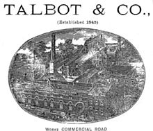 Image of the Talbot & Co. works on Commercial Road, Gloucester. Talbot & Co. advert.jpg