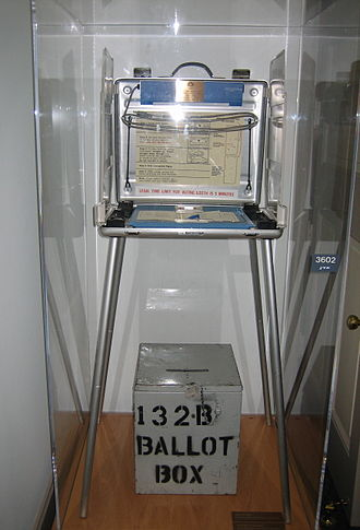 2000 United States presidential election - 2000 Palm Beach County voting stand and ballot box