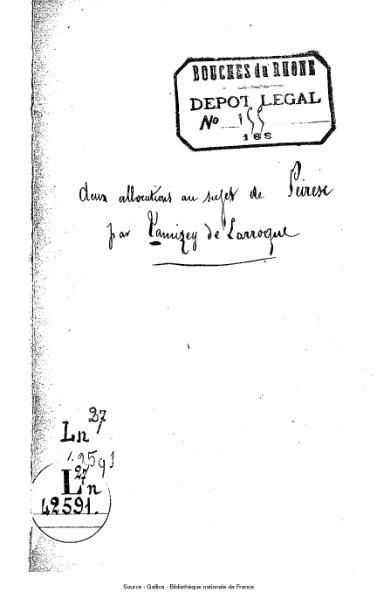File:Tamizey de Larroque - Deux allocutions au sujet de Peiresc.djvu