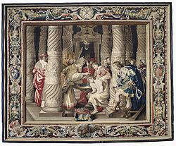 Tapestry showing the Baptism of Constantine.jpg