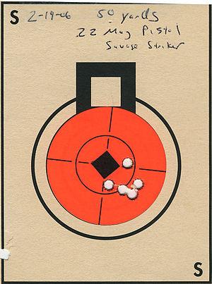 Shot grouping - Image: Target 22mag Striker