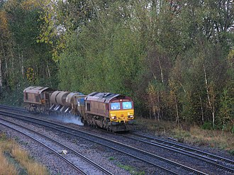 Slippery rail - A Network Rail Railhead Treatment Train uses a high-pressure water jet to remove compressed leaf mulch from the rails in the United Kingdom