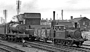 Taunton railway station - Outside the engine shed in 1949
