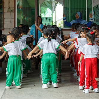 Preschool - Kindergarten children in Malaysia exercising
