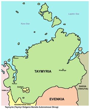Taymyr Autonomous Okrug - Map of Taymyria