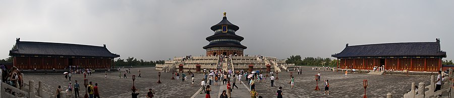 Panorama of the The Hall of Prayer for Good Harvests, the Emperor's last stop on his yearly sojourn to the Temple of Heaven Complex. Here, on a wide expanse against open sky, China's sovereign prayed for good harvests in the coming year. Built in 1420 and rebuilt in 1889 following a fire, the Hall was last renovated in 2006 as a major icon of the upcoming 2008 Beijing Olympic Games.