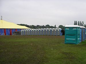 Photograph of temporary toilet units which wer...