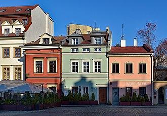 Helena Rubinstein - Helena Rubinstein's birth house (green) in Kraków's Kazimierz district