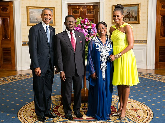 Obiang and U.S. President Obama with their wives in 2014 Teodoro Obiang Nguema Mbasogo with Obamas 2014.jpg