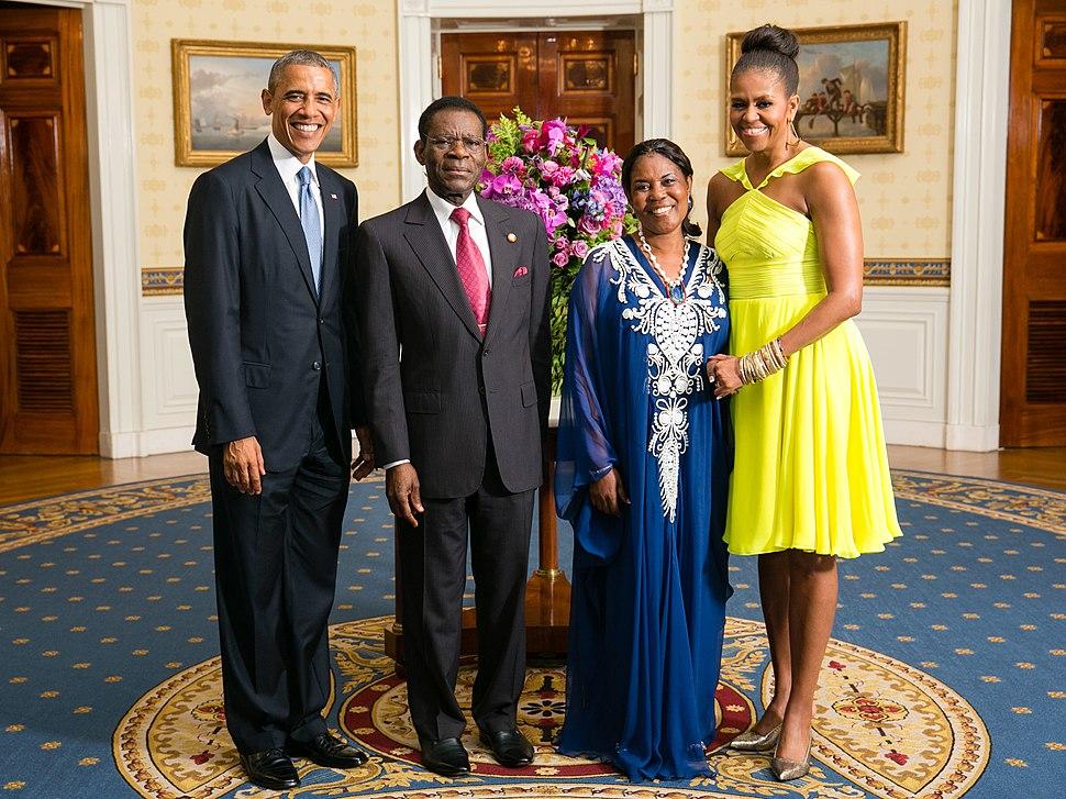 Teodoro Obiang Nguema Mbasogo with Obamas 2014