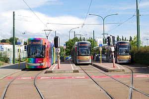 Brussels tram route 4 - Trams at the Stalle Parking terminus.