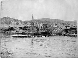 History of the Australian Capital Territory - Construction of Tharwa Bridge in 1893. The bridge, the oldest in the ACT, crosses the Murrumbidgee River in the east-central part of the territory.
