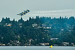 The Blue Angels fly in formation over Lake Washington, during the 68th annual Seafair Fleet Week. (36288558321).jpg
