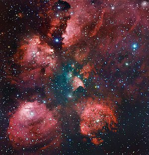 Amateur astronomy - An image of the Cat's Paw Nebula created combining the work of professional and amateur astronomers. The image is the combination of the 2.2-metre MPG/ESO telescope of the La Silla Observatory in Chile and a 0.4-meter amateur telescope.
