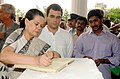 The Chairperson, UPA, Smt. Sonia Gandhi writing her condolence message on the demise of the former Chief Minister of Andhra Pradesh, late Dr. Y.S. Rajasekhara Reddy, in Hyderabad, Andhra Pradesh on September 04, 2009.jpg