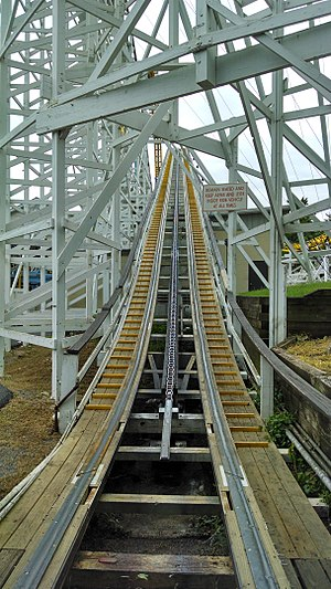Wooden roller coaster - A close-up of wooden roller coaster tracks