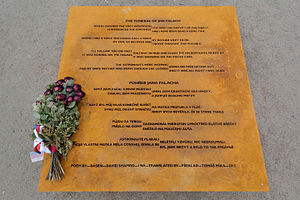 "David Shapiro (poet) - Memorial plaque in Prague with the Shapiro′s poem ""The Funeral of Jan Palach""."