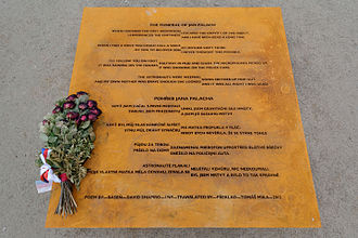 """David Shapiro (poet) - Memorial plaque in Prague with the Shapiro′s poem """"The Funeral of Jan Palach""""."""