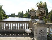 The Long Water from the Italian Garden. Large numbers of mute swans nest in this area.