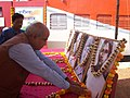 The Member of Parliament, Medinapur, Shri Prabodh Panda paying floral tribute to the martyrs at the stall put up by DAVP before Azadi Express at Kharagpur, in West Bengal on March 06, 2008.jpg