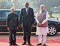 The President, Shri Pranab Mukherjee and the Prime Minister, Shri Narendra Modi with the President of Kenya, Mr. Uhuru Kenyatta at the ceremonial reception, at Rashtrapati Bhavan, in New Delhi on January 11, 2017.jpg